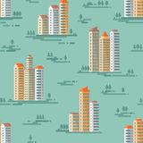 Paesaggio urbano - modello senza cuciture del fondo di vettore nella progettazione piana di stile Costruzioni e fondo degli alber Immagini Stock
