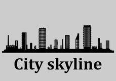 Paesaggio urbano moderno Illustrazione di vettore Il silhouette illustrazione di stock