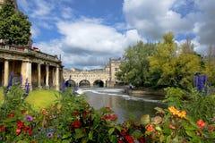 Paesaggio urbano nel bagno medievale della città, Somerset, Inghilterra Fotografia Stock