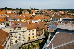 Paesaggio urbano nella città di Sopron - dell'Ungheria immagine stock libera da diritti