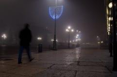 Paesaggio urbano nella nebbia Fotografia Stock