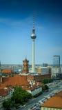 Paesaggio urbano panoramico dell'orizzonte di Berlino, Germania Fotografia Stock Libera da Diritti