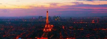 Paesaggio urbano panoramico di Parigi con la torre Eiffel Fotografia Stock Libera da Diritti