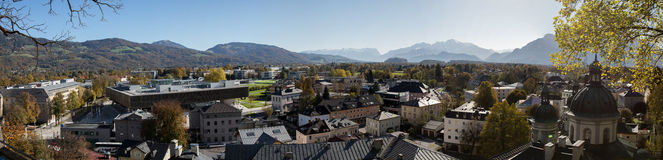 Paesaggio urbano panoramico di Salisburgo, Austria Fotografia Stock