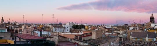 Paesaggio urbano panoramico di Valencia Fotografia Stock
