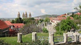 Paesaggio urbano Pecs della via e della cattedrale video d archivio