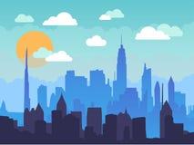 Paesaggio urbano piano di mattina con cielo blu, le nuvole bianche ed il sole Illustrazione urbana dell'orizzonte della città Immagine Stock