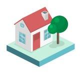Paesaggio urbano piano isometrico 3D Distretto con le piccole case ad un piano Fotografia Stock Libera da Diritti