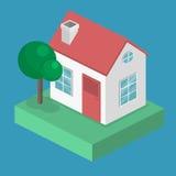 Paesaggio urbano piano isometrico 3D Distretto con le piccole case ad un piano illustrazione vettoriale