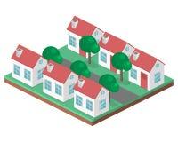 Paesaggio urbano piano isometrico 3D Distretto con le piccole case ad un piano Fotografie Stock Libere da Diritti