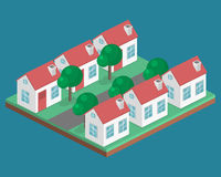 Paesaggio urbano piano isometrico 3D Distretto con le piccole case ad un piano royalty illustrazione gratis
