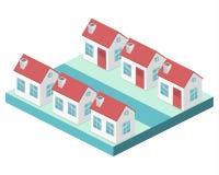 Paesaggio urbano piano isometrico 3D Distretto con le piccole case ad un piano illustrazione di stock