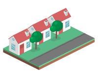 Paesaggio urbano piano isometrico 3D Distretto con le piccole case ad un piano Immagine Stock Libera da Diritti