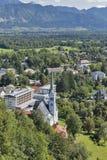 Paesaggio urbano sanguinato della città, Slovenia Immagine Stock Libera da Diritti
