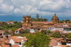 Paesaggio urbano Santander Colombia dell'orizzonte di Barichara immagine stock