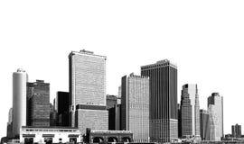 Paesaggio urbano - siluette dei grattacieli Fotografia Stock Libera da Diritti