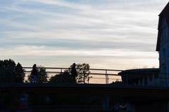 Paesaggio urbano storico del sud Stuttgart della Germania Europa di tramonto fotografie stock libere da diritti