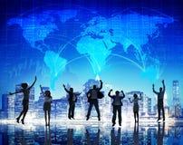 Paesaggio urbano Team Concept di affari globali della gente della siluetta Immagine Stock