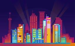 Paesaggio urbano urbano variopinto di notte Fotografia Stock