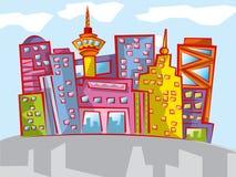 Paesaggio urbano variopinto del fumetto di divertimento Fotografia Stock Libera da Diritti