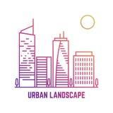 Paesaggio urbano variopinto nella linea stile di vettore illustrazione di stock