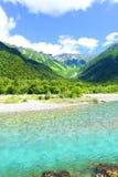 Paesaggio V del fiume della montagna di Kamikochi Hotaka Dake Fotografie Stock