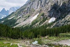 Paesaggio in Val Ferret vicino a Courmayeur nelle alpi italiane Immagine Stock