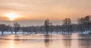 Paesaggio variopinto all'alba di inverno in parco Immagini Stock Libere da Diritti