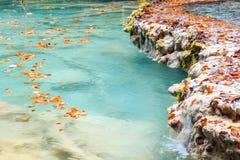 Paesaggio variopinto alla fonte di urederra, Spagna di autunno Immagine Stock