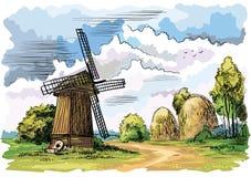 Paesaggio variopinto con un mulino a vento Illustrazione di vettore Fotografia Stock Libera da Diritti