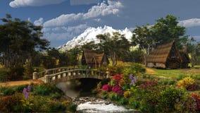 Paesaggio variopinto del cottage Fotografie Stock