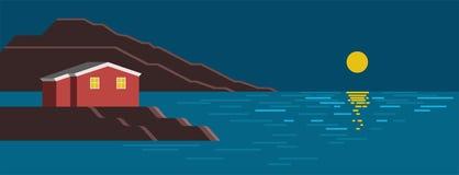 Paesaggio variopinto di notte del mare di estate Fotografie Stock Libere da Diritti