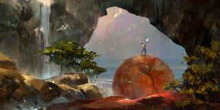 Paesaggio variopinto dipinto di fantasia con un viaggiatore e una cascata illustrazione vettoriale