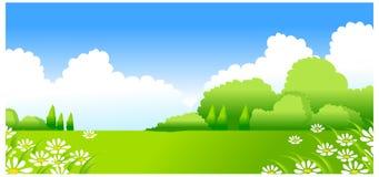 Paesaggio verde con i fiori bianchi illustrazione vettoriale