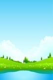 Paesaggio verde con il lago Immagini Stock
