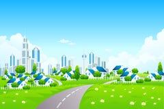 Paesaggio verde con la città un piccolo villaggio Fotografia Stock Libera da Diritti