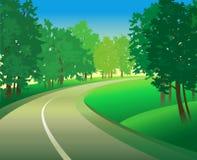 Paesaggio verde con la strada Fotografia Stock