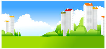 Paesaggio verde con le costruzioni royalty illustrazione gratis