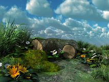 Paesaggio verde del prato Fotografie Stock Libere da Diritti