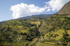 Paesaggio verde della montagna sul circuito di Annapurna nel Nepal Immagini Stock Libere da Diritti