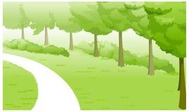 Paesaggio verde e percorso illustrazione di stock