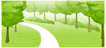 Paesaggio verde e percorso royalty illustrazione gratis