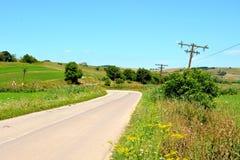 Paesaggio verde nella Transilvania Telegrafo pali Fotografie Stock Libere da Diritti