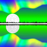 Paesaggio verde orizzontale grafico variopinto dell'arcobaleno royalty illustrazione gratis