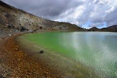 Paesaggio verde smeraldo del lago, parco nazionale di Tongariro Immagini Stock