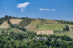 Paesaggio vicino ad Ascoli Piceno ad estate Fotografie Stock Libere da Diritti