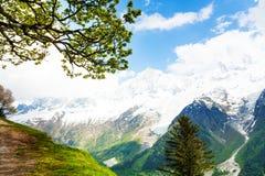 Paesaggio vivo dalla cima di Mont Blanc, alpi Fotografia Stock Libera da Diritti