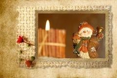 Paese del pupazzo di neve delle cartoline di Natale Fotografia Stock Libera da Diritti
