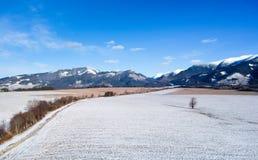 Paese di inverno da un fuco Fotografie Stock