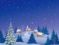 Paese nevoso di notte di Natale illustrazione vettoriale